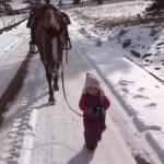馬をひきながら雪道を歩く、ちいさな女の子