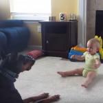 赤ちゃんと遊んであげる優しいドーベルマン
